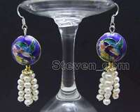 SALE 4-5mm Round White Natural Pearl and 18mm Blue Cloisonne Dangle earring-e522