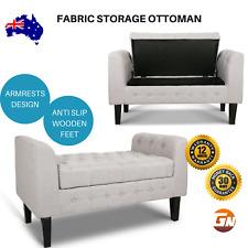 Artiss Fabric Storage Ottoman Bench Bedroom Furniture Lounge Seat  - Beige