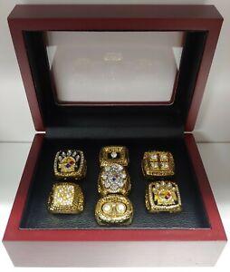 Pittsburgh Steelers - Super Bowl Gold 7 Ring Set w Box. Roethlisburger Bradshaw