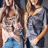 Womens  Lady Short Sleeve Choker V Neck Blouse Stylish Print TopsT-shirts