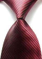 2x  Mens ties Red Black Stripes JACQUARD WOVEN Silk Suits Tie Necktie #343