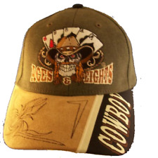 Aces & Eights Lucky Cowboy Skull Gambling Baseball Cap Hat Western Style