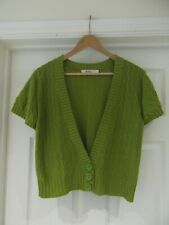 M&CO Cardigan Green Chunky Cable Knit Cropped Length Short Sleeve UK Size Large