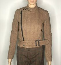 Carine Roitfeld Uniqlo Biker Jacket Size XS Belted Brown Wool
