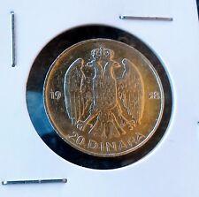 Yugoslavia silver coin, 20 Dinara 1938 Petar II Kralj Jugoslavije, Silver (.750)