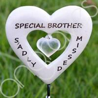 Sadly Missed Special Brother Love Heart Memorial Tribute Stick Graveside Plaque