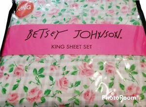 Betsey Johnson Sheets KING 4PC Set plaid Pink Rose NEW!