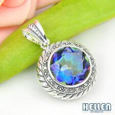 Beautiful Charm Fire Rainbow Mystical Topaz Gems Vintage Silver Necklace Pendant