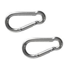 Magideal Pack of 2 Stainless Steel Spring Snap Link Hook Carabiner M5x50mm