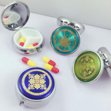 Metal folding pill case medicine organizer box travel makeup storage container ~