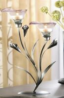 Purple glass calla Lilly flower modern art statue tea-light metal Candle Holder
