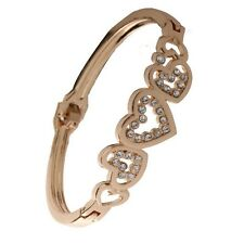Women Fashion Gold Plated Crystal Love Heart Cuff Bangle Charm Bracelet Gift