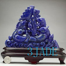 Natural Lapis Lazuli Bird / Fish Statue Gemstone Carving Sculpture Chinese Art