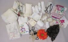 Vtg Lot Assorted Lace Sheer Tulle Remnants Edge Trim DIY Craft Beads Doll Sew