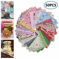 50X Assorted Bundle Quilt Quilting Cotton Fabric Sewing Crafts DIY 10x10cm _au