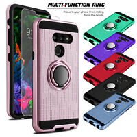 For LG G8 ThinQ / G820 Shockproof Case Ring Holder Stand With Screen Protector