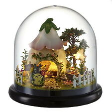 Mini glass DIY Wooden Dollhouse Miniature with LED Craft Gift New--Green Garden