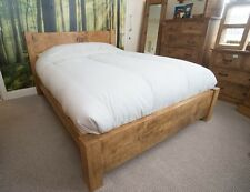 """NEW DOUBLE RUSTIC CHUNKY """"BABY"""" PLANK BED SOLID WOOD - bespoke available"""