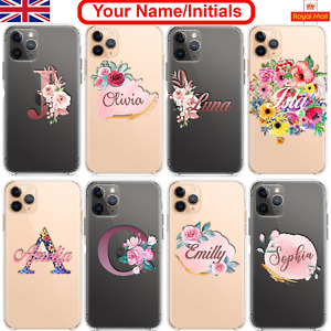Floral PERSONALISED CLEAR Initials Name Phone Case Cover for iPhone Samsung Gift