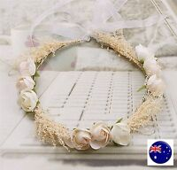 Women Flower Girl babys breath wedding Beige Flower Hair Headband crown Garland