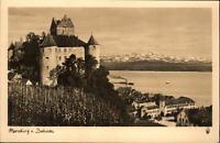 Meersburg am Bodensee Postkarte ~1930/40 Blick auf den See Alpen Schiff Schloss