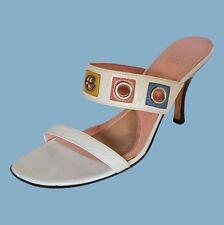 JOAN & DAVID White Slip On Sandal Heel Womens Size 8.5