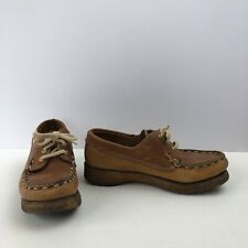Vtg Womens Dexter Brown Leather Lace-Up Thick Rubber Sole Shoes Loafers Sz 7.5