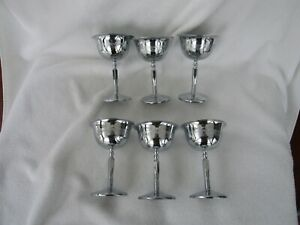 Set of 6 ~~QUALITY ~Etched Silver Plated Desert - Beverage~ Goblets~~CLEAN!!!