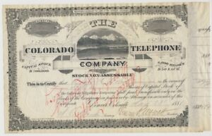 1881 STOCK Certificate 🚩 COLORADO Telephone Co., HENRY WOLCOTT Signatures