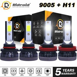 Mini 9005 H11 Combo LED Headlight Bulbs High Low Beam Super White 6000K 4PCS