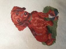 Nice cross stitch framed Red/Brown Dachshund sitting on grass with ball