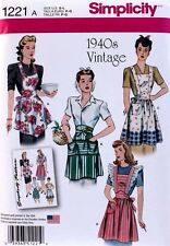 APRON Vintage Retro Full & Half Simplicity Pattern 1221 NEW Size Misses S-M-L