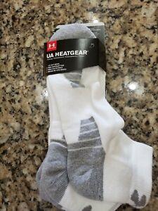 Under Armour Ua Heatgear Blanc Gris Chaussettes Basses 3 Paires 12-16 XL Nip