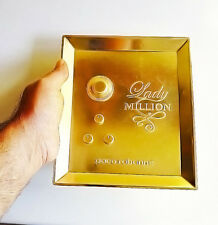 Lady Million Paco Rabbane Gold Tone  Metal Collectors Advertising  Tray - RARE