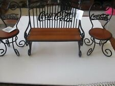 Coca-Cola Miniature Park Bench and Chairs set Metal and Wood 1999