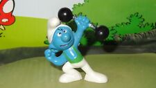 Smurfs Barbell Smurf Green Shirt Variation 20020 Vintage Rare Display Figurine