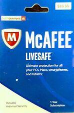 $90 NEW McAFEE LiveSafe Anti-Virus Ultimate Security Mac PC - MLS17EOD1RHA 810