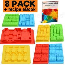 Lego Lovers Best 8 Pack Silicone Candy Molds + Recipe eBook.