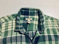 J. Crew Women's Sz S Button Down Green White Gray  Plaid Shirt Long Sleeve