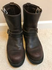 Men's FRYE 8R Classic Brown Leather Buckled Motorcycle Engineer Boots Size 9.5