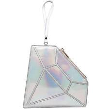 "NEW 7 LUXE Silver ""HOLOGRAM DIAMOND"" Wristlet Handbag -SALE"