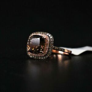 New w/ Tags 14k Rose Gold Ring 9x9mm Smoky Quartz Stone w/Diamonds -BBD888