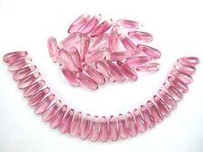 50 Rose / Cristal Tchèque Perles de Verre poignard - 3x10mm