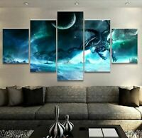 Flying Dragon in Moon night 5 PCs Canvas Printed Wall Poster Picture Home Decor