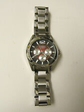 (M) FOSSIL SILVER MULTI-FUNCTION WATCH 10 ATM BQ9372 PRE-OWNED WORKING BATTERY