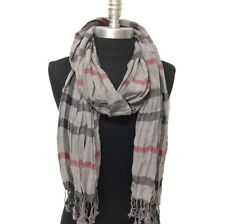 NEW Women Soft Classic Plaid Checked Crinkle Long Scarf SHAWL Stole WRAP Gray