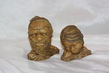 Vintage Australian Aboriginal Carved Wood  Male Female Figures Figurines