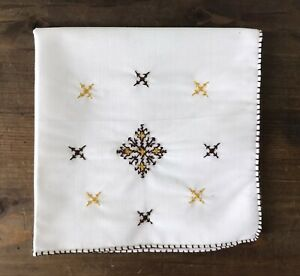 Lovely EMBROIDERED Cross Symbols WHITE Cotton Square HANKY Kerchief GREAT Unused