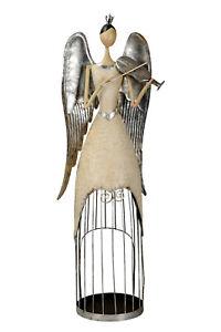 Engel Metall Metallengel Geige 83,5cm  Dekoration Weihnachten Winter XL Stil