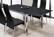 Mesa extensible para comedor con cristal templado negro y estructura cromada
